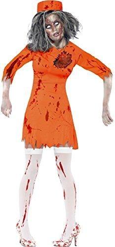 Damen Orange Latex Death Reihen Toter Zombie Sträfling Gefangener Halloween Kostüm Kleid Outfit - Orange, 16-18 (Gefangener Kostüm Frauen)