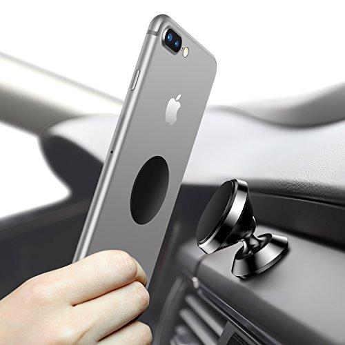 Universal Handyhalterung Auto Magnet, Humixx 360 °Einstellbare Smartphone Halterung Auto für iPhone 6 6s 7 7Plus, Samsung Galaxy S7 S8, HTC (Schwarz)