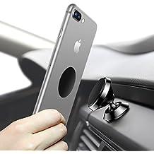 Soporte Movil Coche Magnético, HUMIXX Universal Soporte de Smartphone Stent de Navegación de Coche Titular del Teléfono Rotación de 360 Grados para iPhone 6s/6 Plus/7/7 Plus Samsung Galaxy S7/S8 (negro - Panel de Instrumentos)