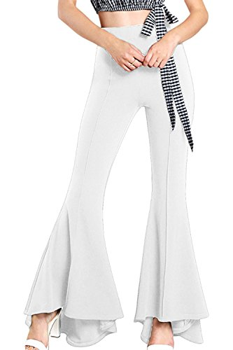 Mujeres Pantalones Largos, Pantalones De Campana, Tramo De Cintura Alta Pantalones De Campana Blanco...