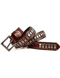 Chengzuoqing Cinturon de Mujer Cinturón de Cuero de Plena Flor para Hombres  Mujeres Adultos Punk Rock Blet Cinturones para JeansCon… 1fccdaa36148