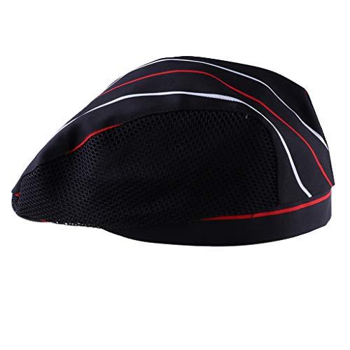 B Blesiya Baumwolle Kochmütze Bäcker Mütze für Restaurants, Hotels, Bäckereien - Roter weißer Streifen