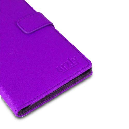 Orzly® - SAMSUNG S5 Multi-Function Wallet Stand Case - SCHUTZHÜLLE mit integrierte BRIEFTASCHE + STAND - Flip Stil Fall / Tasche / Handytasche in SCHWARZ Leder Effekt mit Magnetischen Deckel - Hülle E LILA