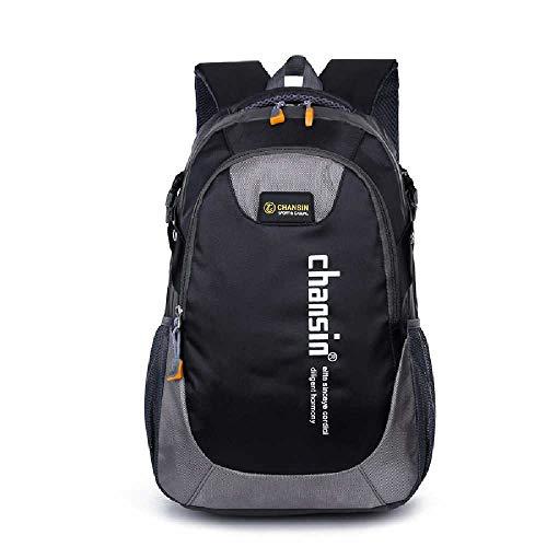 YJZZ Große Kapazität Freizeit Studententasche Outdoor Reiserucksack Multifunktionale wasserdichte Umhängetasche 20-35L/ schwarz