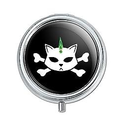 Graphics and More Skulls Crossbones Cat Stick Figure Family Pet Pill Case Trinket Gift Box