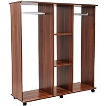 Outsunny - Armario abierto guardaropa colgar ropa madera colgador con ruedas 120x40x128cm