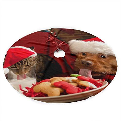 TUYUFBAGS Weihnachtskatze Und -Hund Mit Einem Hut, Der Milch Stiehlt Weihnachtsbaum Rock Schürzen Weihnachtsbaumdecke 90CM Weihnachtsbaum Bodendekoration