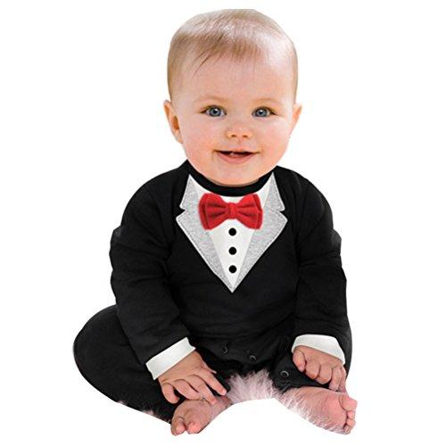 Kleinkind Aufm Kleid (YOUJIA Baby Strampler Smoking für Jungen Anzug Mit Fliege Für Kleinkinder 0-24 Monat Süßes Geschenk Für Eltern mit Babies (Rot Schwarz,80CM))
