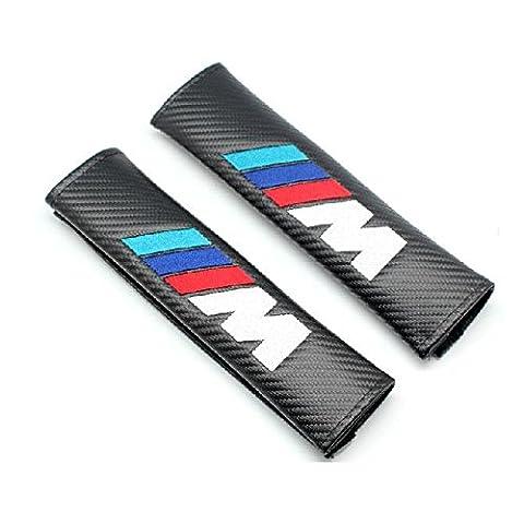 Benzee 2pcs M en fibre de carbone de voiture Styling Accessoires pour ceinture de sécurité épaules Pad Camion
