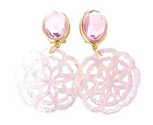 Sehr große leichte Ohr-Clips vergoldet Stein rosa Anhänger rund rosafarben schillernd Fashion Dirndl Tracht Statement Party Fest Designer JUSTWIN