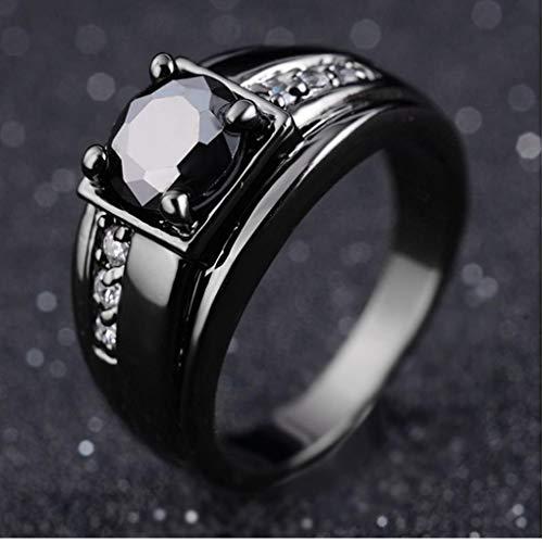 Gamloious Größe 8,9,10,11 Frau Mann Schwarz 18K Gold füllte Black Sapphire Trauringe (10)