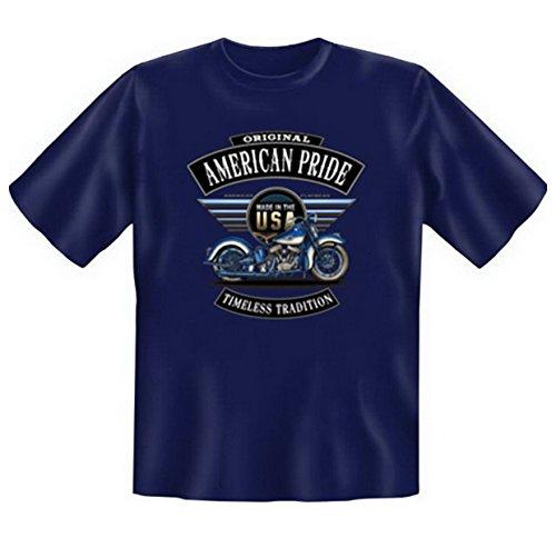 Biker & Motorrad T-Shirt geil bedruckt / American Pride ! Navy-Blau