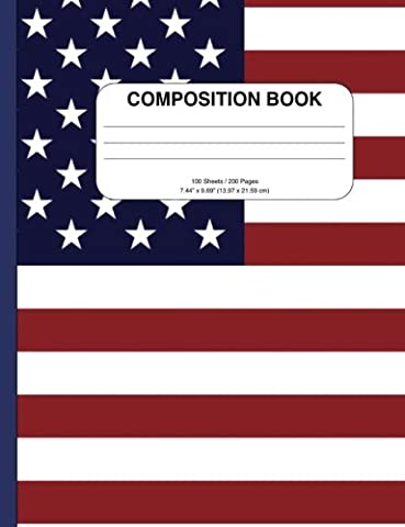 Inspirational American Flag Composition Notebook: College Ruled, 200+ Pages, Perfect
