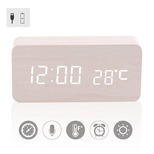Reloj de Alarma Digital de Madera Control acústico de luz LED con Fecha de Tiempo y visualización de Temperatura para niños, hogar, Oficina, Vida Diaria o durmientes Pesados (Color : #3)