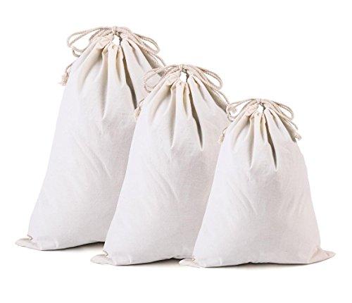 AiYoYo 3 Stück Organizer Beutel Baumwollbeutel Stoffbeutel mit Kordelzug Natur Tote Taschen Groß Aufbewahrungsbeutel für Rucksack, Koffer, Einkaufstasche und Schuhbeutel, Bio Umweltfreundliche Reisetasche Set als Schuhbeutel, Wäschebeutel Oder Reisedokumententasche, S/32cm × 40 cm, M/40cm × 50cm, L/49cm × 58cm (Bio-baumwolle Kordelzug)