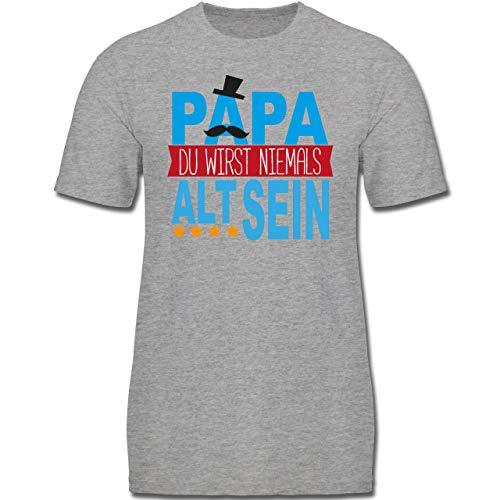Vatertag Kind - Papa Du wirst Niemals alt Sein - 140 (9-11 Jahre) - Grau meliert - F130K - Jungen Kinder T-Shirt Big Daddy Hut
