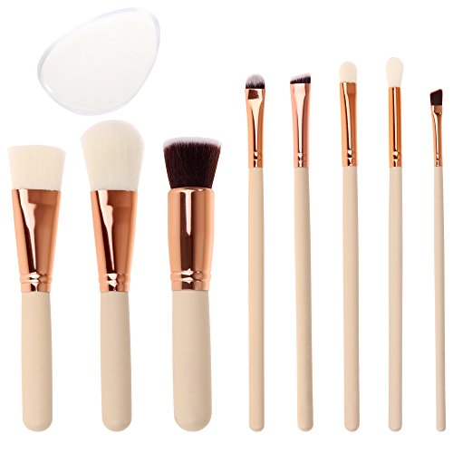 SGM® Profesional Makeup Brush Set with Travel Bag and Silicon Sponge, 8Pcs