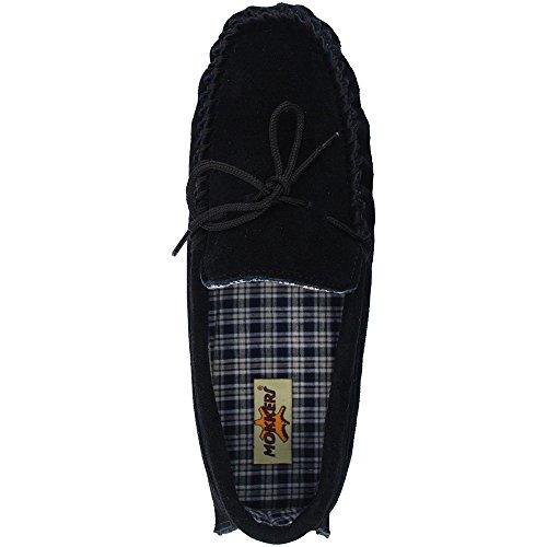 Dunlop Herren Moccasins aus Wildleder, Größe 39 - 47 Black Real Suede