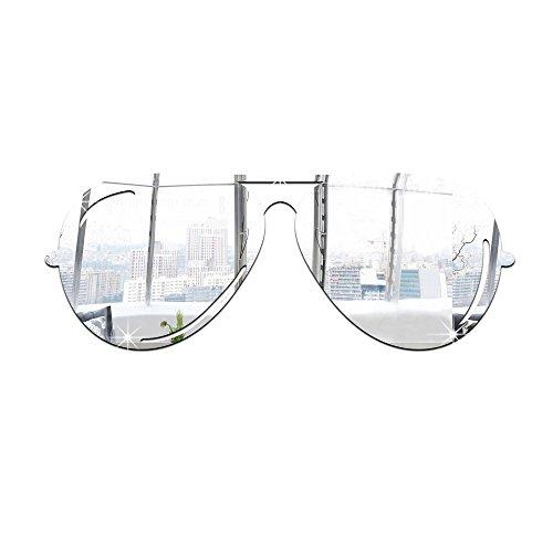 BB.er Sonnenbrille Spiegel Wandaufkleber dreidimensionale Umweltschutz Acryl Hauptdekoration Aufkleber, Silber
