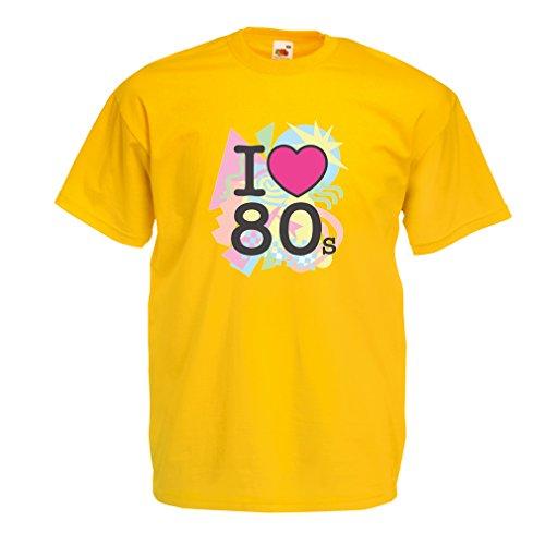 Männer T-Shirt Ich liebe 80er Konzert t-shirts Weinlese Kleidungs Musik t-shirts geschenke (Small Gelb Mehrfarben) (80er Jahre Musiker Kostüm)
