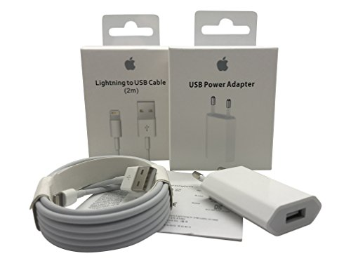 Original Apple MD819ZM/A 2m Lightning Kabel und Apple MD813ZM/A A1400 5W USB Power Adapter (Ipad 32gb 4. Generation)