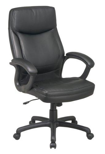 Hoch High Back Leder (Office Star WorkSmart Chefsessel mit hoher Rückenlehne, Eco Leder mit arretierbarer Neigefunktion High-Back schwarz)