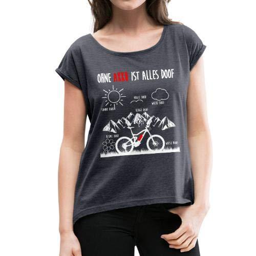 Spreadshirt E-Bike E-MTB Ohne Akku ist Alles Doof Spruch Frauen T-Shirt mit Gerollten Ärmeln