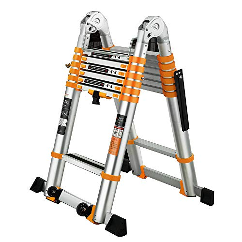 ZR- Herringbone Ladder, Multi-Purpose2.3-5.5M Tragbare Teleskopleiter Aus Aluminium DIY Ausziehbare A-Rahmen-Ladder Extension Steps 150KG -Einfach zu lagern und einfach zu tragen