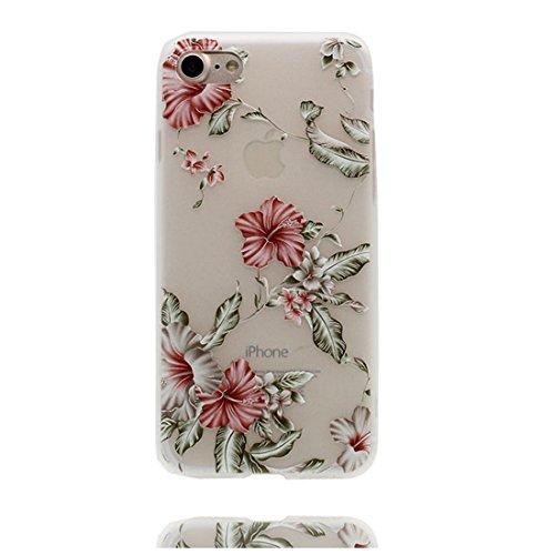 Custodia iPhone 6S, Silicone trasparente Cartoon Stile del modello Case Con materiale di alta qualità & morbido & & Ultra sottile iPhone 6 / 6s copertura 4.7 Graffi Prova / Banana rosso fiore