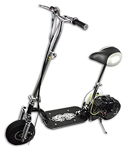Gadetzone® Unisex Foldable Budget 49cc Mini Petrol Ride On Scooter, Black & Silver With Seat And