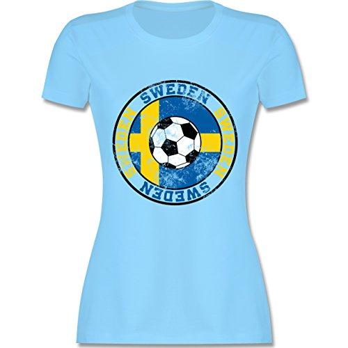 EM 2016 - Frankreich - Sweden Kreis & Fußball Vintage - tailliertes Premium T-Shirt mit Rundhalsausschnitt für Damen Hellblau