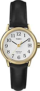 Timex Women's T2H341 Quartz Easy Reader Date Watch with White Dial Analogue Display and Black Leather Strap