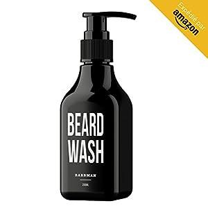 BARBMAN: Bartshampoo (200ml) mit Sandelholz, reinigt Gesicht und Bart täglich in die Tiefe, Ideales Geschenk für Männer mit Bart.