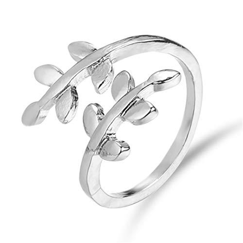 (Underleaf einfache Wilde Finger Ringe verlässt Promise Ring Design für Frauen (Silber))