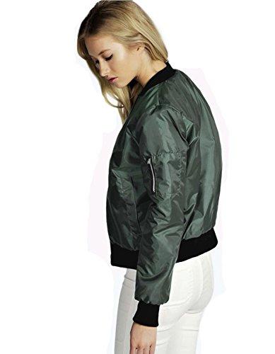 cooshional Damen Bomberjacke Military Coat MA-1 Air Force Kurze Jacke Armeegrün