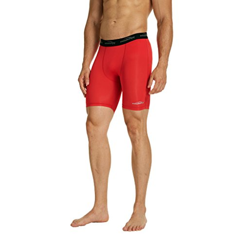 COOLOMG Men s Compression Leggings Baselayer Underwear Shorts Tights Pants for Workout Running Cycling Training Red Small