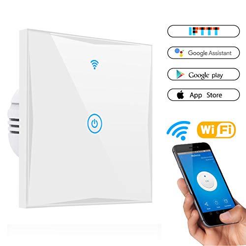 Smart Lichtschalter, CHANPAK 1-Weg Wifi In-Wall gehärtetes Glas Touchscreen-Schalter, arbeitet mit Amazon Alexa und Google Home, steuern Sie Ihre Fixtures von überall, kein Hub erforderlich(1-weg) -