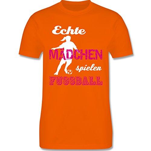 Fußball - Echte Mädchen spielen Fußball weiß - Herren Premium T-Shirt Orange
