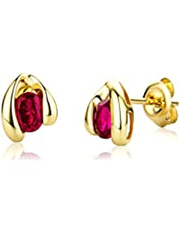 Miore Gold Earrings 9ct Yellow Gold Ruby Studs