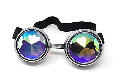 Ultra Silber mit Kaleidoskop Linsen Steampunk Brille Gläsern Cyber Viktorianischer Punk Schweißen Cosplay Goth Round Niet Vintage Rave Neuhei