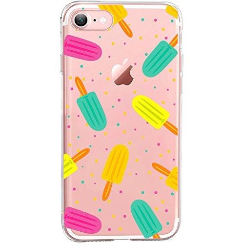 Girlscases® | Hülle kompatibel für iPhone 8/7 | Im Sommer EIS-Creme Motiv Muster | in bunt | Fashion Case transparente Schutzhülle aus Silikon