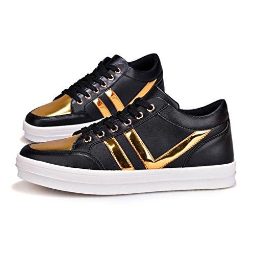 Hommes Chaussures de loisirs Augmenter les chaussures Personnalité Chaussures décontractées Mode Grande taille Chaussures plates TAILLE 38-45 Black