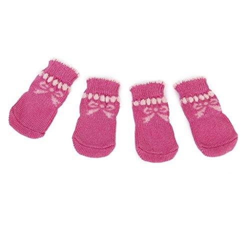 hundeinfo24.de Pfotenschutz Rosa Bowknot Hund Welpen Katze Schuhe Slipper Rutschfeste Socken mit Pfote Drucke Gr. S