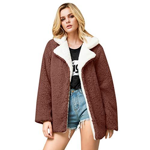 Lazzboy Frauen Beiläufiger Fester Faux Pelz Outwear Wolljacke Loser Umlegekragen Mantel Pelzmantel Damen Winterjacke Warme Künstliche Wollmantel Reißverschluss Jacke(Kaffee,4XL) -