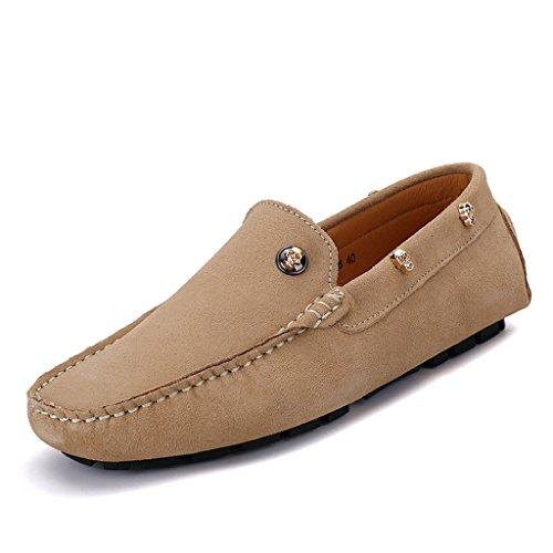 Eagsouni® Mocassins Hommes daim Penny Loafers Casual Bateau Chaussures de Ville Flats #2Kaki
