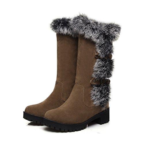 QIN&X Donna calda libero fondo spesso neve stivali scarpe Brown