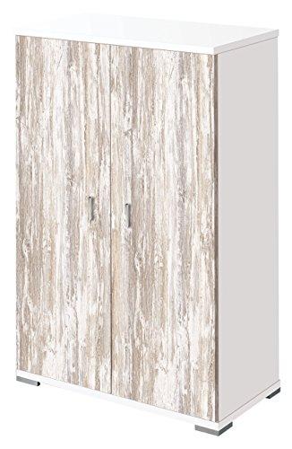 OVERHOME365 2214 B/V - Zapatero, madera, color blanco y vintage, 60.5x36x95 cm