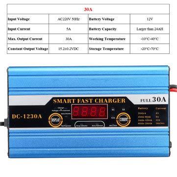 C-FUNN Batteria 20A / 30A / 40A Piombo-Acido 20Ah A 200Ah Caricabatterie Intelligente Multifunzione per Display LCD per Auto Moto - 30A