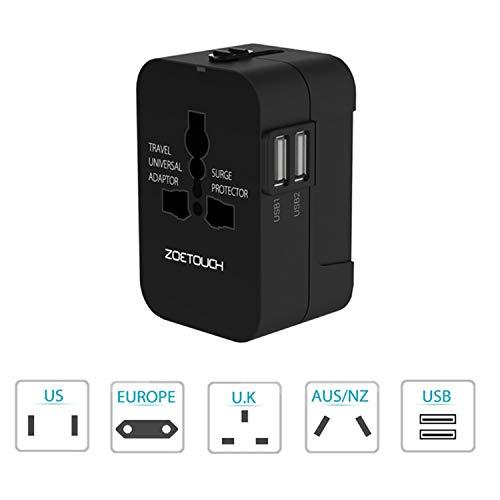 Adattatore da Viaggio, ZOETOUCH Adattatore da Viaggio Universale con 2 Porte Caricabatterie USB Adatto per più di 180 paesi (Nero)