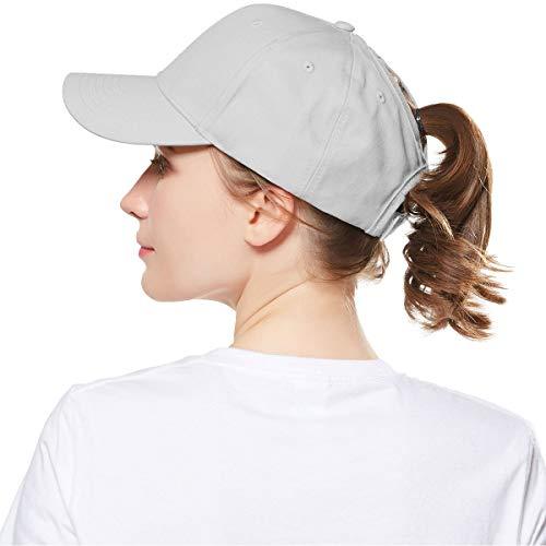 WELROG Dame Baseball Kappe Hip-Hop-Hut Verstellbar Baumwolle Pferdeschwanz (Grau)